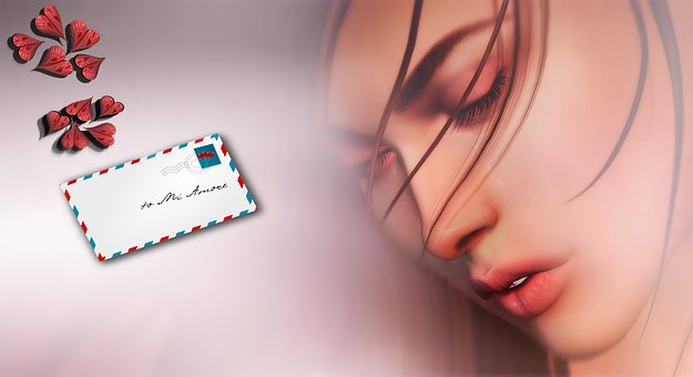 女性と手紙のイラスト