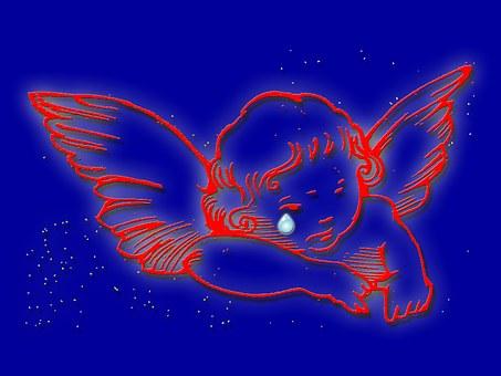 涙を流す天使のイラスト
