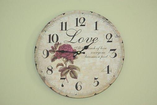 バラの絵が描かれた時計