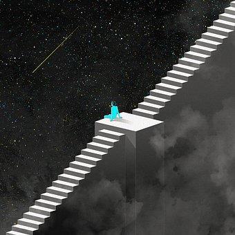 夜空に浮かぶ階段